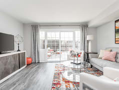 Living Room and Patio - Jamestown Apartments