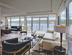 Living Room with Panoramic Hudson River Views