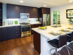 Designer kitchens with quartz countertops, stainless steel appliances and a breakfast bar