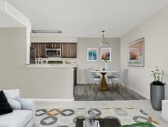Open Kitchen, Dining and Living Rooms - Crestmont Apartments
