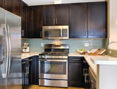 Kitchens feature stainless steel appliances, quartz countertops, and espresso cabinets
