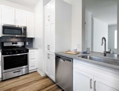 Newly Renovated Kitchen with Stainless Steel Appliances, Quartz Countertops, and Hard Surface Plank Flooring (in Select Homes)