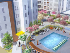 The outdoor amenities include pool with sun seating, fire pit, grilling area, putting green, and more!
