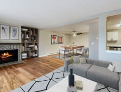 Premier finishes in the living room and kitchen with an open dining area