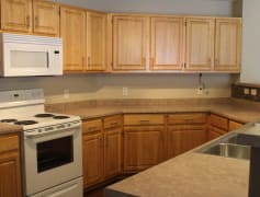 Stylish finishes with tons of kitchen cabinet space