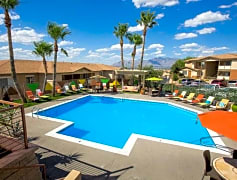 One of 2 resort-style pools featuring a cabana, hammocks, and a gourmet outside kitchen. Take a dip in our while taking in the mountainous views on the horizon.