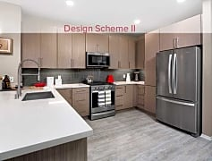 Design Scheme II Kitchen with quartz countertops, stainless steel appliances, and hard surface plank flooring