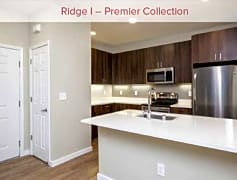 Premier Collection kitchen with quartz countertops, walnut cabinetry, and stainless appliances