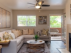 Living room with new ceiling fans