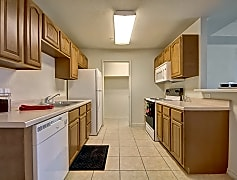 An open kitchen with easy access to the dining area