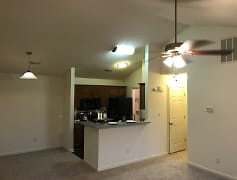 1BR,1BA Valued ceiling, with a wood burning fireplace