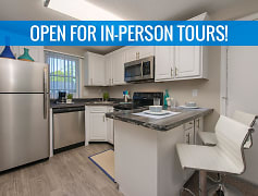 Newly renovated kitchens featuring black fusion counter tops, wood-style flooring, and stainless steel appliances. We are excited to offer in-person tours while following social distancing and we encourage all visitors to wear a face covering.