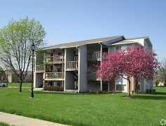 Building with balconies at Brookfield Village Apartments in Southwest Topeka, KS