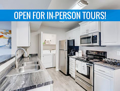 Kitchens featuring black fusion counter-tops, white cabinetry, and stainless steel appliances. We are excited to offer in-person tours while following social distancing and we encourage all visitors to wear a face covering.