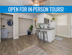Spacious, open living area with wood-style flooring and closets with organizers. We are excited to offer in-person tours while following social distancing and we encourage all visitors to wear a face covering.