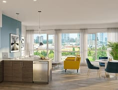 BLU Bellevue Apartments Model Kitchen and Living Room Rendering