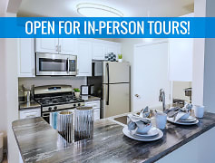 We are excited to offer in-person tours while following social distancing and we encourage all visitors to wear a face covering. Galley style kitchens featuring stainless steel appliances, black fusion counter tops, wood-style flooring, and a breakfast bar.
