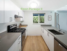 Finish Package II kitchen with quartz stone countertops, stainless appliances, and hard surface flooring