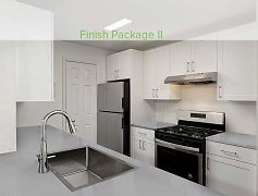 Finish Package II apartments feature quartz countertops, Whirlpool stainless steel appliances, hard surface flooring and upgraded lighting. Available in select homes