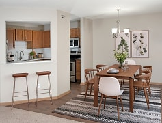Faux Wood Flooring Throughout the Dining Room & Kitchen