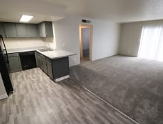 Kitchen, Dining Area & Living Room