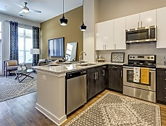 Stainless-steel appliances and under-mount sinks.