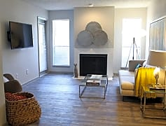 Living Room with Wood Plank Style Flooring