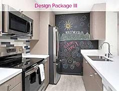 Design Package III Kitchen with hard surface vinyl plank flooring, stainless steel appliances, tile backsplash, and quartz countertops