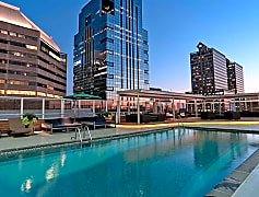 Lounge by the pool overlooking Center City, Philadelphia