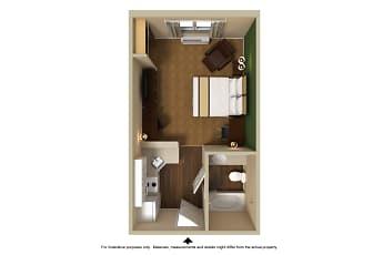 Bedroom, Furnished Studio - Detroit - Canton, 2