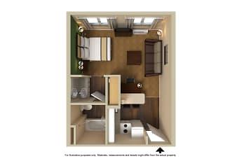 Bedroom, Furnished Studio - Fremont - Fremont Blvd. South, 2
