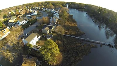 aerial of pier , house