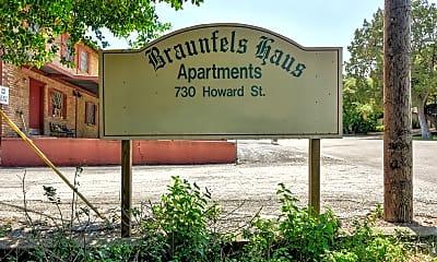 Community Signage, Braunfels Haus, 2