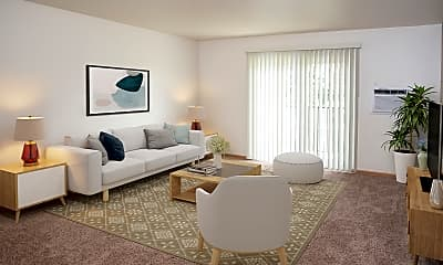 Living Room, Evergreen Apartments, 1
