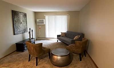 Living Room, Kings Kourt Apartments, 1