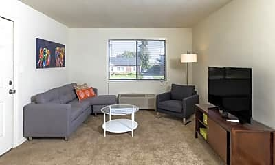 Living Room, Evergreen Apartments At New Castle Crossing, 0