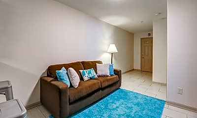 Living Room, College Center Apartments-Per Bed Leases, 1