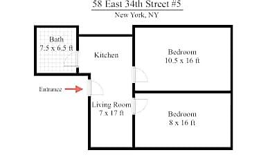 Bathroom, 58 E 34th St, 2