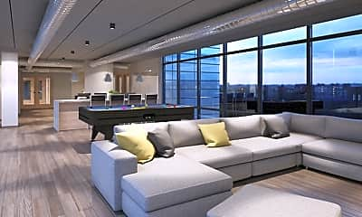 Living Room, The Bridge on Forbes - PER BED LEASE, 1