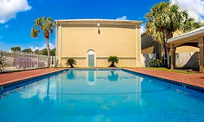 Pool, South Palm Villas and Martinique leasing office, 0
