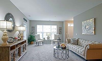 Living Room, Harvard Place w/ Garages, 1