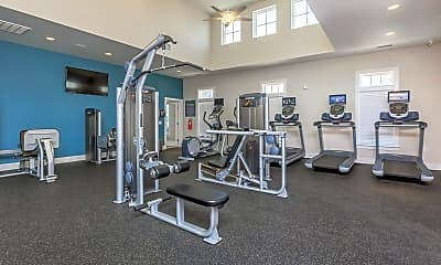 Fitness Weight Room, Riverstone Apartments at Long Shoals, 2
