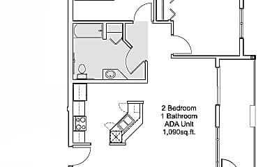 2 bedroom 1 bathroom ADA floor plan, 3705 South Broadway Street, 1