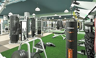 Fitness Weight Room, The Hub on Campus - Champaign, 2