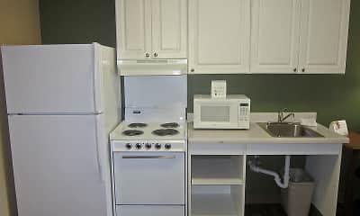 Kitchen, Furnished Studio - Fayetteville - Cross Creek Mall, 1