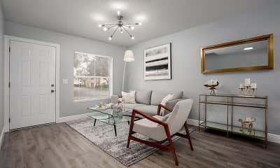 hardwood floored living room with a ceiling fan and natural light, The Landings at West Palm, 1