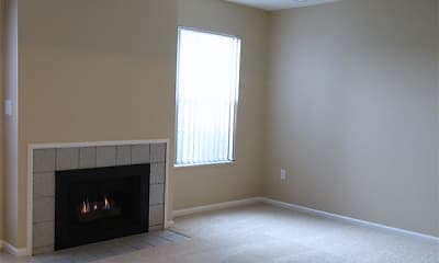 living room with carpet, natural light, and a fireplace, Mannington Place Townhomes, 2