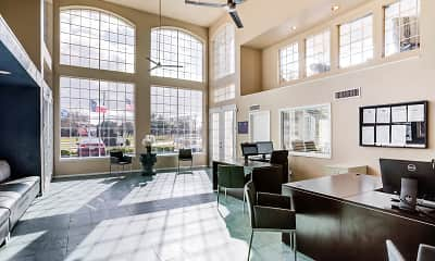 lobby with a wealth of natural light, a ceiling fan, a high ceiling, tile floors, and TV, The Life at Park View, 1