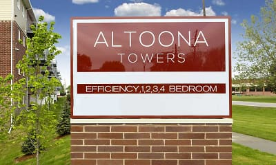 Community Signage, Altoona Towers, 2