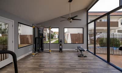 exercise area featuring a ceiling fan and a deck, Villa Del Mar, 2